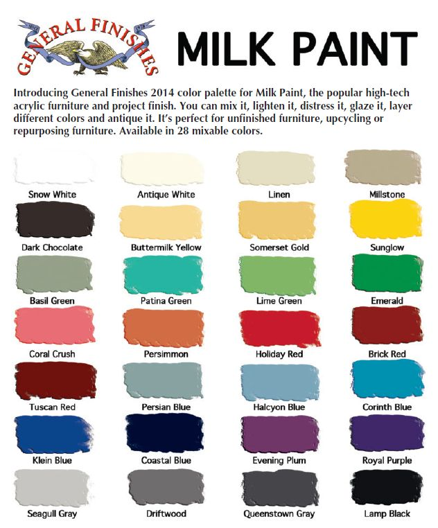 General Finishes milk Paint color options